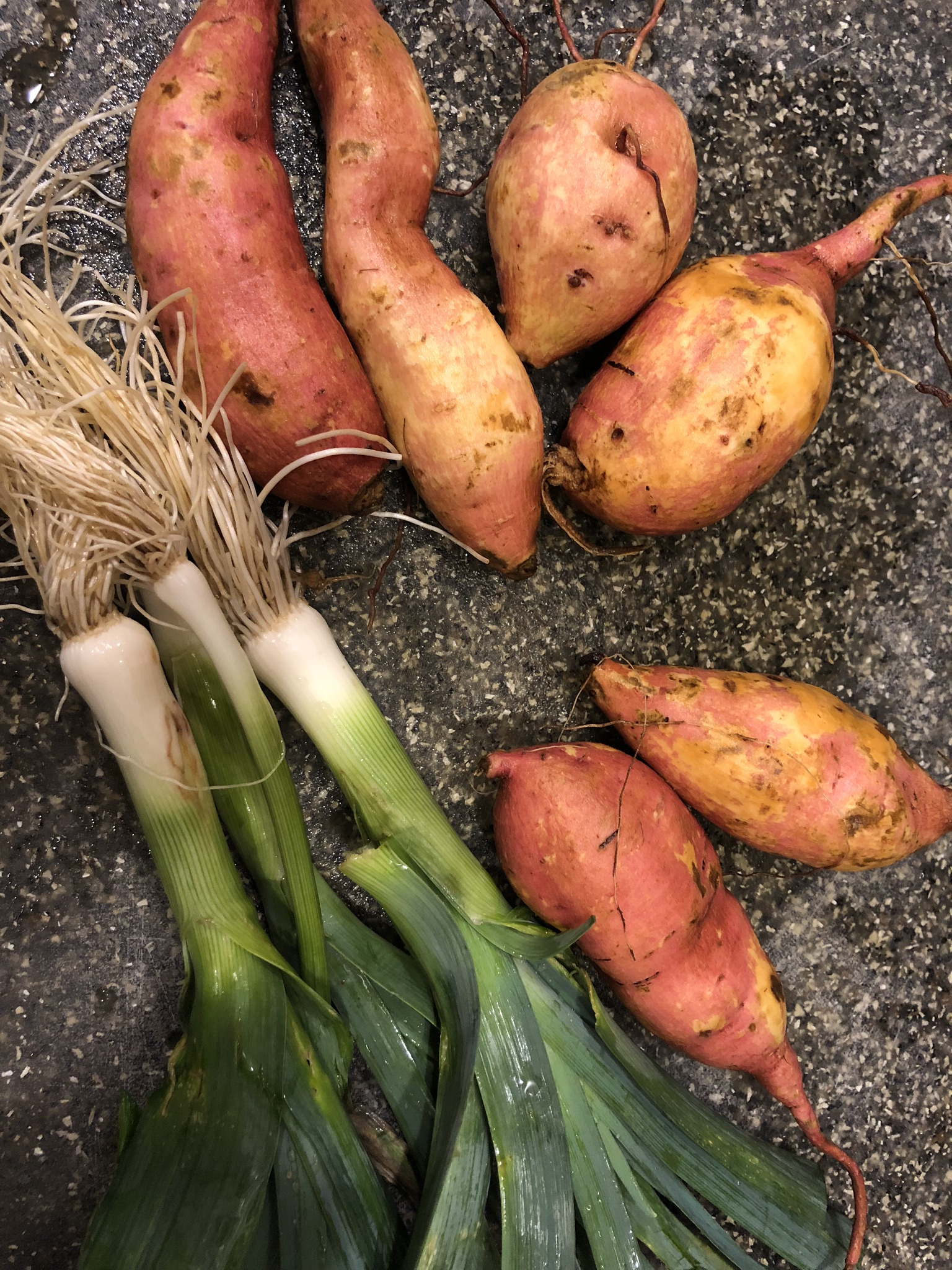 Burgundy sweet potatoes and leeks