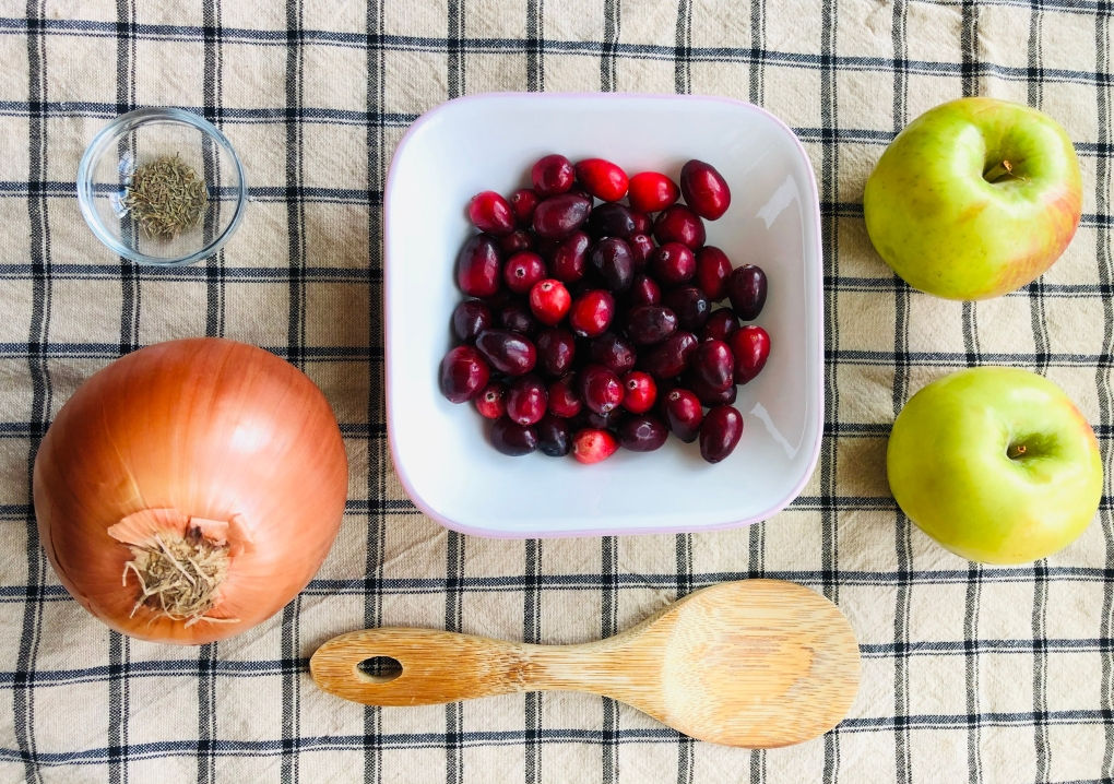 apple cranberry stuffing with New Jersey cranberries